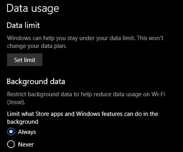 Limit Data Use on Windows 10 Computer
